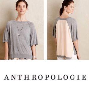 Anthropologie Moth gray pink short sleeve sweater